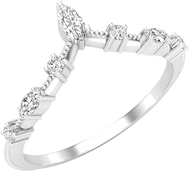 Dazzlingrock Collection 0.20 Carat (ctw) Marquise & Round White Diamond Ladies Wedding Band Chevron Ring 1/5 CT, 14K Gold