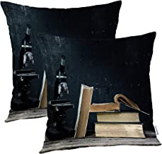 Batmerry Vintage Pillow Covers 18x18 Inch Set of 2, Vintage Microscopes Old Antique Science Microscope Double Sided Square Pillow Cases Pillowcase Sofa Cushion