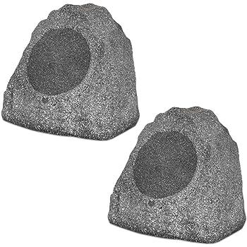 "Theater Solutions 2R8G Outdoor Granite 8"" Rock 2 Speaker Set for Deck Pool Spa Yard Garden, Granite Grey"