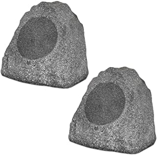 "Theater Solutions 2R8G Outdoor Granite 8"" Rock 2 Speaker Set for Deck Pool Spa Yard Garden, Granite Grey"