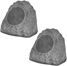 "Best Theater Solutions 2R8G Outdoor Granite 8"" Rock 2 Speaker Set for Deck Pool Spa Yard Garden, Granite Grey Review"