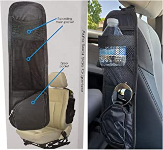 Auto Car Seat Side Organizer & Storage | Front Passenger Seat Headrest Hang for Truck, Van, SUV - Black