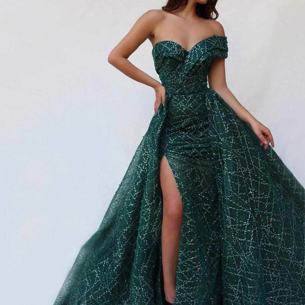 Roiii Damen Teilt Schulterfrei R/ückenlos Formelle Lange Abendparty Kleid Prom Ballkleid Brautjungfernkleider Gr/ö/ße 36-50