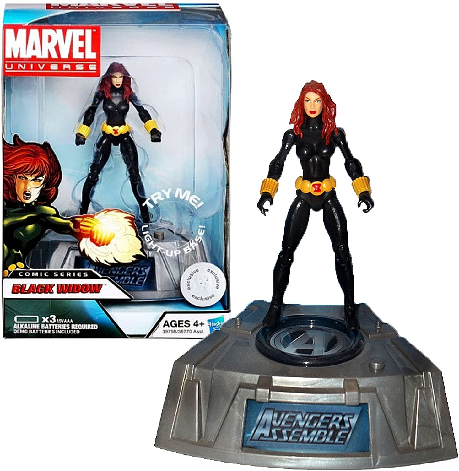 Marvel Universe Exclusive Comic Series Figure With Light Up Base Black Widow by Hasbro