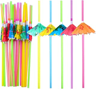 BronaGrand 100 Pieces Umbrella Straws,Disposable Flexible Drinking Straws Parasol Straws for Luau Parties, Bars, Restaurants,Kitchen Supplies,Island Themed Party