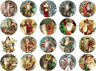 Assorted Vintage Santa Circles Christmas 1 1/2