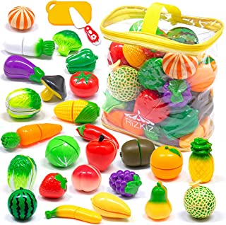 RiZKiZ おままごと 野菜 フルーツセット 詰め合わせ 全26種類 まな板&包丁&収納バッグ付 台所 お店屋さんごっこ おもちゃ キッチン ごっこ遊び 食べ物 食材