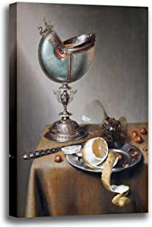 Canvas Print Wall Art - Still-Life with Nautilus Cup - Marten Boelema de Stomme - Giclee Printed on Stretched Gallery Wrap - 10x13 inch