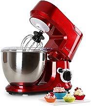 Klarstein Carina Rossa - Robot de cocina multifunción , Batidora , Amasadora , 800 W , 4 L , Batido planetario , 6 niveles de velocidad , Recipiente de acero inoxidable , Bloqueo de seguridad , Rojo