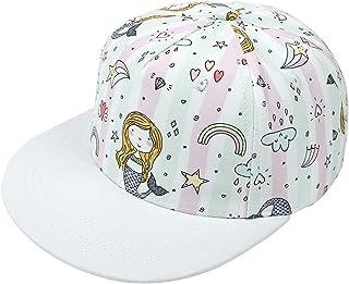 Little Kids Baseball Cap Toddler Hats for Boys and Girls Hip-Hop Cartoon Hat 2-8 Years Old Children's Flat Brim Print Sun Hat