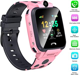 Kids Smart Watch Girls Smartwatch LBS+GPS Tracker Unlocked Child Boys Smartwatch SOS Emergency Call Built in Mic Speaker Camera Alarm Clock Compatible for iOS iPhone Android Phones