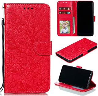 Capa para celular LG K52 / K62 / Q52 carteira de couro PU [relevo 3D [flor de renda de relevo] - vermelha