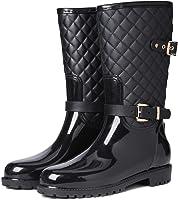 gracosy Wellington Boots Waterproof Slip-on Women Rain Boots Ladies Mid Calf Rain Shoes Wellies Boots Garden Shoes for...