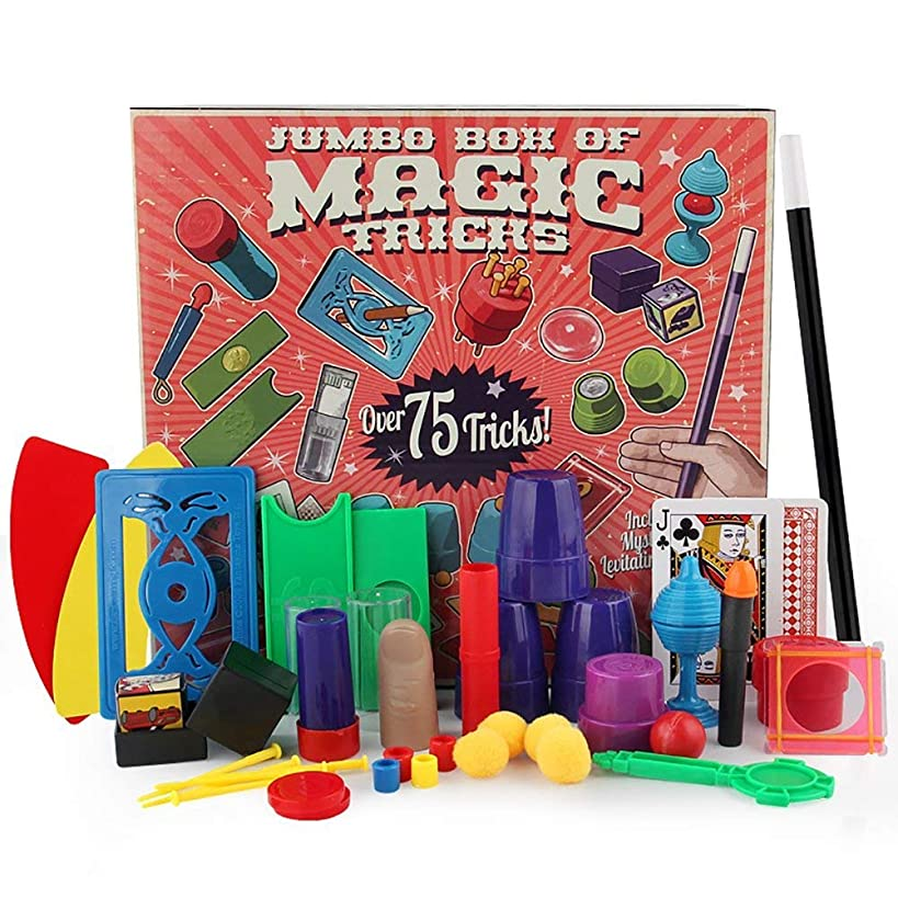 Magic Kit Easy Magic Tricks For Kids Over 75 Spectacular Tricks Magic Set Ideal For Beginners and Kids of All Ages With Cards / Coin / Wand / Fake Thumb Finger / Cup Beads etc