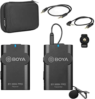 2.4GHz Wireless Lavalier Microphone System, BOYA BY-WM4 Wireless Lapel Mic with Hard Case Compatible with DSLR Cameras, Ca...