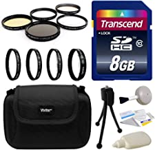 Professional Lens and Filters Accessories Bundle for Sony A3500, A7, A7R, A7S, A100, A200, A230, A290, A300, A330, A350, A380, A390, A450, A500, A550, A560, A580, A700, A850, A900, A33, A35, A37, A55, A57, A58, A65, A99, HX300 includes Transcend 8GB SD Memory Card + Deluxe Carrying Case + 4 Piece Close Up Macro Filter Kit + 5 Piece Professional Filters Set + Camera Cleaning Set