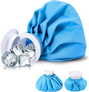 Ice Bag, Cold Pack Reusable Cold Bag Hot Water Bag for Injuries, Hot & Cold Therapy and Fast Pain Relief, 3-Pack, 3 Sizes (6