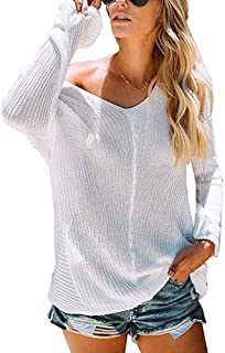 NREALY Sweaters Women's V Neck Sweaters Off Shoulder Loose Pullover Knit Jumper Tunic Tops