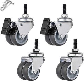 """2""""Zwenkwielen met zwenkwiel voor zwaar gebruik, dubbel wiel, rubberen wielen voor trolleymeubels, industriële transportwie..."""