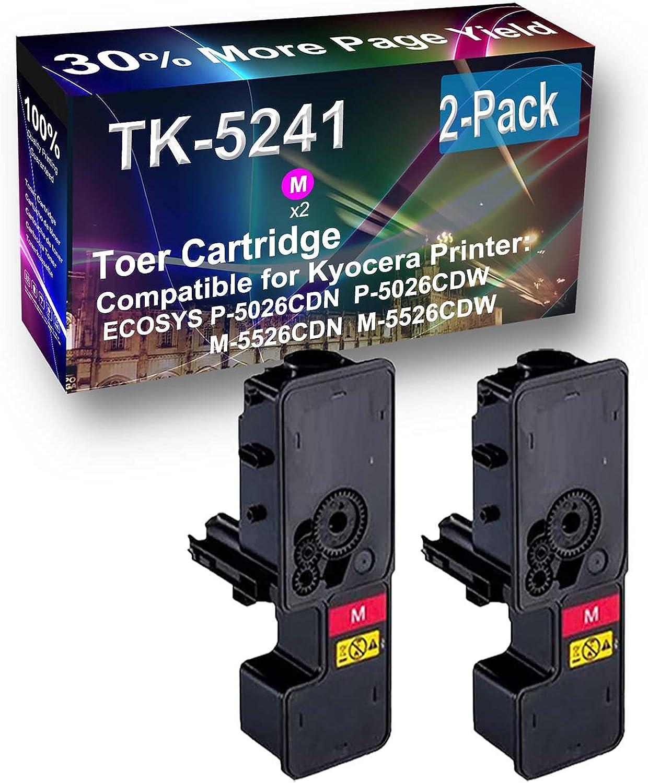 2-Pack (Magenta) Compatible M-5526CDN Printer Toner Cartridge High Capacity Replacement for Kyocera ECOSYS TK5241 (TK-5241M) Toner Cartridge