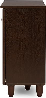 Baxton Studio Wholesale Interiors Winda Modern and Contemporary 3-Door Dark Brown Wooden Entryway Shoes Storage Cabinet