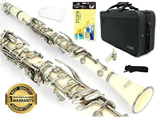 D'Luca 200WH 200 Series ABS 17 Keys Bb Clarinet with Double Barrel, Canvas Case, Cleaning Kit, White
