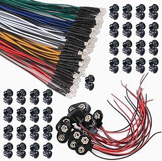 GTIWUNG 50Pcs 12V DC Pre Wired LED Diodos Emisores de Luz Lámpara con Línea de Color de 20cm + 50Pcs 3mm Plástico Soporte de LED Clip Montaje + 10Pcs Tipo T Conector de batería de 9V
