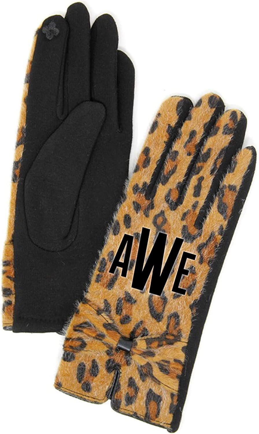 Customized Monogram Warm Leopard Gloves, Personalized Animal Print Smart Touch Gloves, Gift for Her
