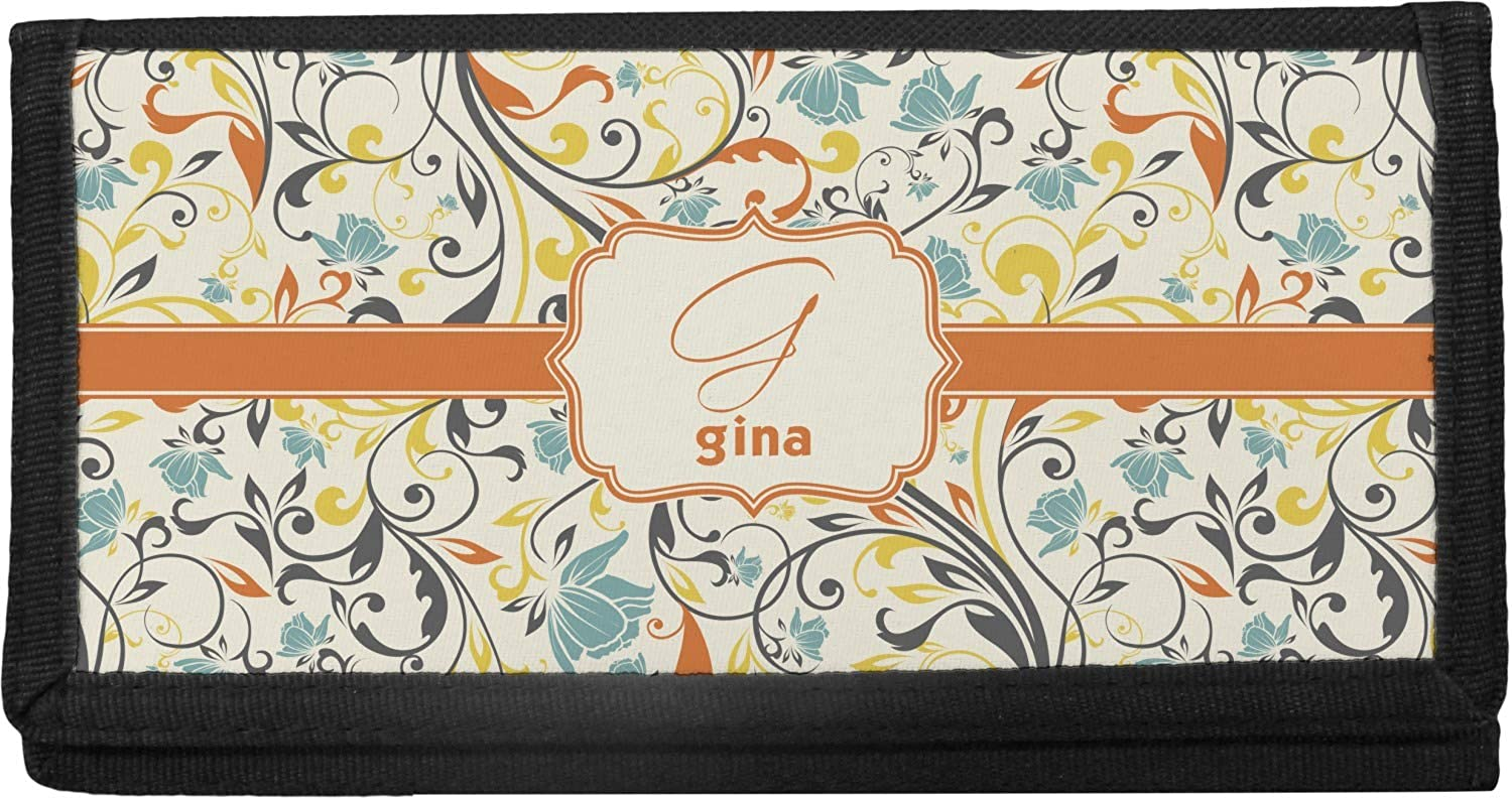 Tulsa Mall Swirly 1 year warranty Floral Canvas Checkbook Cover Personalized