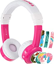 BuddyPhones Inflight, Volume-Limiting Kids Headphones, 3 Volume Settings of 75, 85 and 94 dB, Includes Travel Mode, Perfect for Airplanes, Trains and Cars, Built-in Audio Sharing Cable, Pink