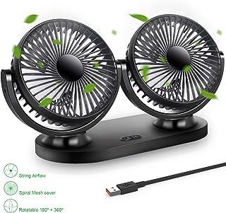 STLOVe Ventilador USB Mini Ventilador Doble Cabeza 360° Rotación Rotación Horizontal 180 ° 3 Velocidades Ventilador Portatil Adecuado para Coche/Mesa/Oficina/Camping/La Pesca etc - Negro (Fans 3)