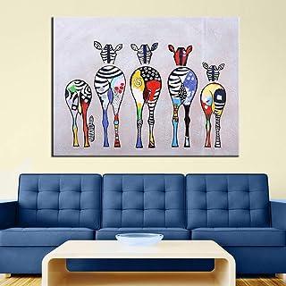 Danjiao Pintado A Mano Moderno Abstracto Dibujos Animados Cebra Pintura Al Óleo Colorida Pared Decorativa Lienzo Arte Cuadros Para Sala De Estar Decoración Del Hogar Sala De Estar Decor 60x90cm