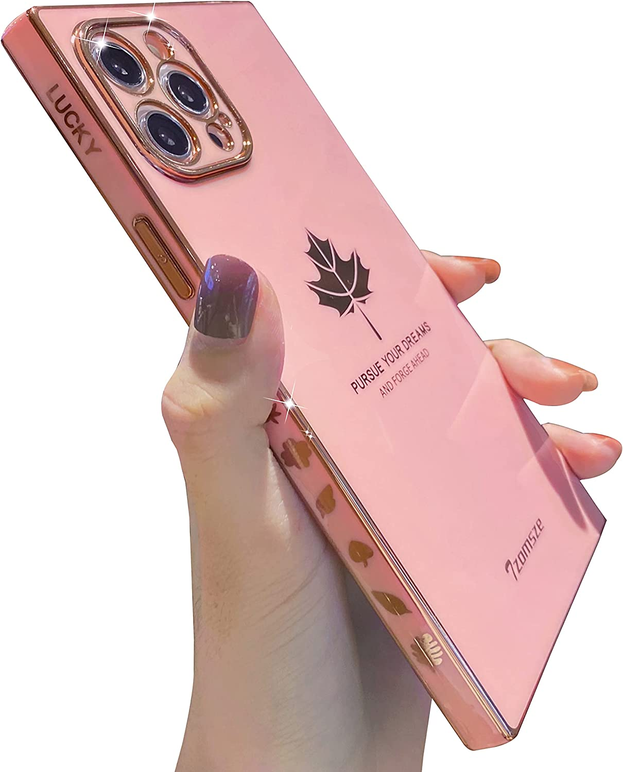 Square Case for iPhone 12 Pro Max,Tzomsze Cute Full Camera Lens Protection & Electroplate Reinforced Corners Shockproof Edge Bumper iPhone 12 Pro Max Case [6.7 inches] -Maple Leaf Pink