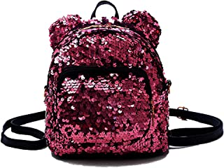 Basilion Sequins Cute Ears Cartoon Mini Backpack Student Bag