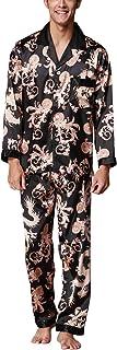 Pijamas para Hombre Satén, Hombre Largos Primavera Verano Impresión Retro, Hombre Camisones Pijamas de Parejas, Collar con Bolsillo con Botones