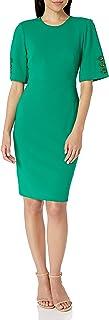 Calvin Klein Women's Wide Short Sleeved Sheath with Button Detail