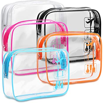 Clear Toiletry Bag, F-color 5 Pack TSA Approved Toiletry Bag Quart Size Bag, Travel Makeup Cosmetic Bag for Women Men, Carry on Airport Airline Compliant Bag, Black, White, Blue, Orange, Rose Red