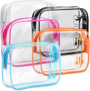 Clear Toiletry Bag, F-color 5 Pack TSA Approved Toiletry Bag Quart Size Bag, Travel Makeup Cosmetic Bag for Women Men, Car...