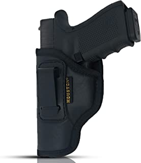 HOUSTON IWB Gun Holster ECO Leather Concealed Carry Soft Material | Suede Interior for Maximum Protection | Fits: Glock, Ruger, Springfield, Sig, S&W, Walther, Taurus, H&K, Beretta and More.