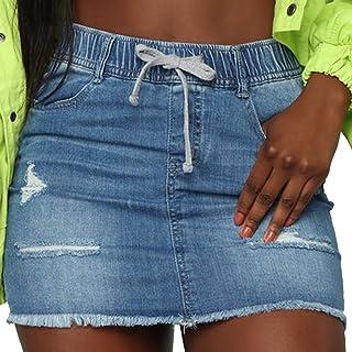 Women's Casual Distressed Ripped Denim Short Skirt