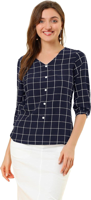 Allegra K Women's Check Shirt V Neck 3/4 Sleeve Plaid Spring Casual Tops Blouses