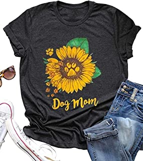Dog Mom Sunflower Funny T-Shirt Women Dog Paw Graphic Casual Short Sleeve Tee Tops Blouse