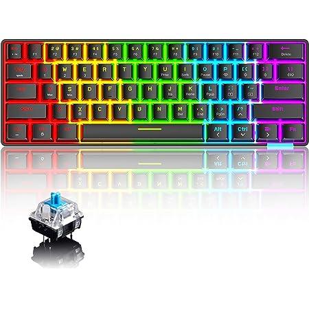 60% Teclado mecánico Cableado / inalámbrico Teclado Bluetooth 5.0 RGB Rainbow LED Retroiluminado USB Tipo-C Teclado para juegos a prueba de agua ...