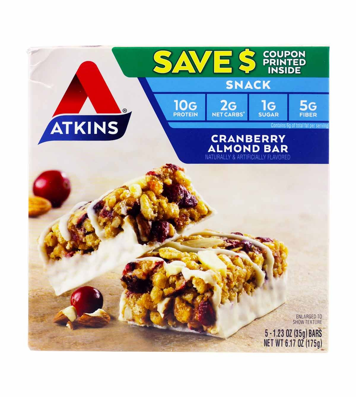Atkins Cranberry Almond Bar 3 Boxes of 5 Bars (15 total bars)