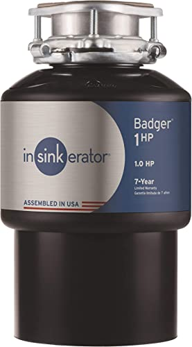 InSinkErator 79024-ISE Garbage Disposal, Badger Continuous Feed, 1 HP, Black