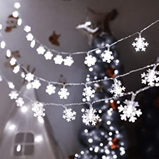 KNONEW Christmas Lights, Snowflake String Lights for Wedding Party Christmas Home Garden Bedroom Outdoor Indoor Wall (Cool White)