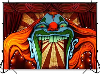 Funnytree 7x5ft Horror Circus Theme Halloween Backdrop for Photography Giant Evil Clown Hallomas Birthday Party Background Scary Grove Vampire Baby Cake Table Decor Banner Photobooth Studio Props