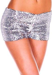 سروال نسائي من Doufine برسومات مطرزة بالترتر مثير من Clubwear Rave Boyts Hot Pants