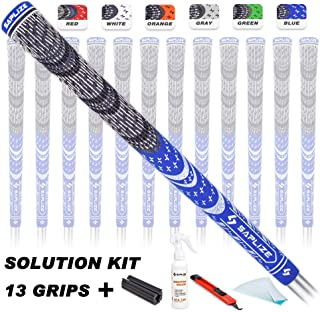 SAPLIZE Multi Compound Golf Grips, 13 Grips with Solvent,Tape,Knife,Vise Clamp, Hybrid Corded Rubber, Blue/Grey/Red/Green/Orange/White, Standard/Midsize, Golf Club Grips