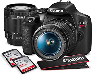 Canon T7 EOS Rebel DSLR Camera with EF-S 18-55mm f/3.5-5.6 is II Lens W/Telephoto & Wideangle Lens 3 Pc. Filter Kit + Trip...